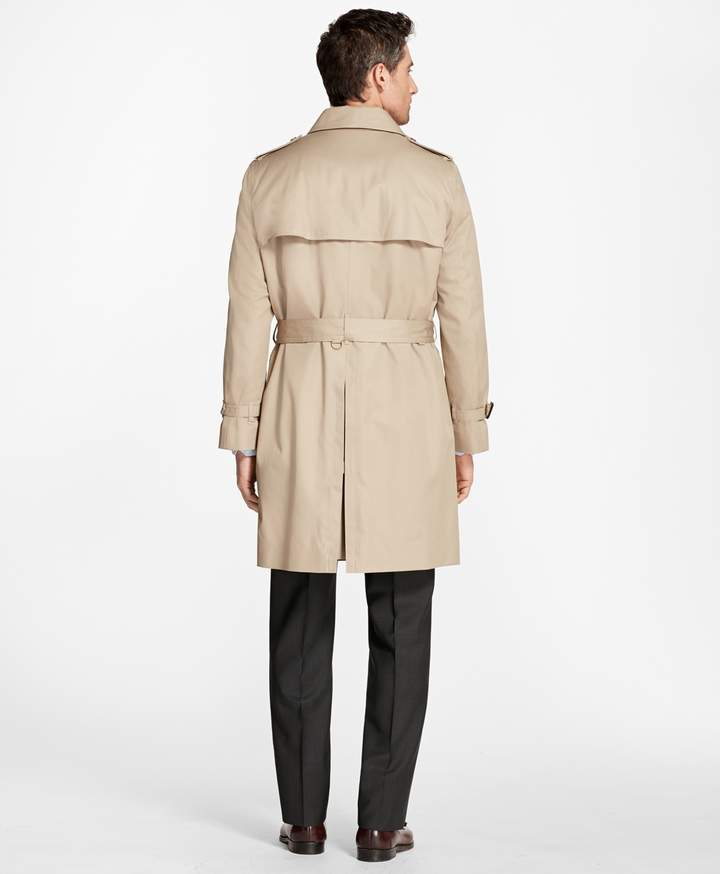 Brooks Brothers Double-Breasted Khaki Trench