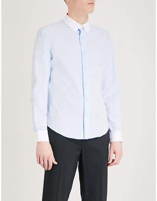 Sandro Contrast-collar regular-fit cotton shirt