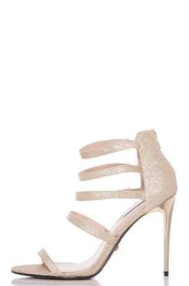 Quiz Gold Glitter Multi Strap Heel Sandals