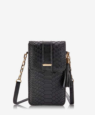GiGi New York Penny Phone Crossbody Bag, Black Embossed Python