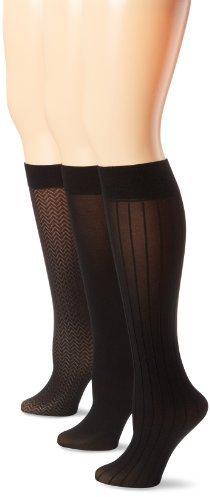 Anne Klein Women's 3 Pack Chevron Trouser Sock