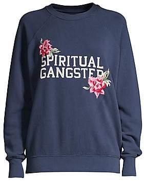 Spiritual Gangster Women's Floral Logo Crewneck Sweater