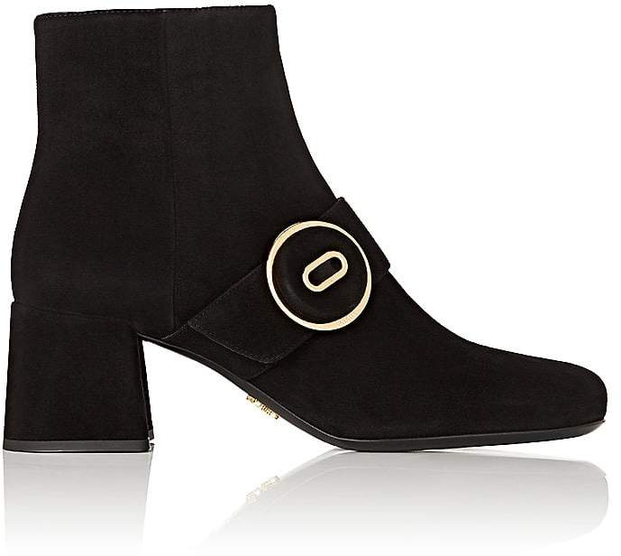Prada Women's Button-Strap Suede Ankle Boots