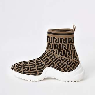 River Island Girls RI monogram sock sneakers