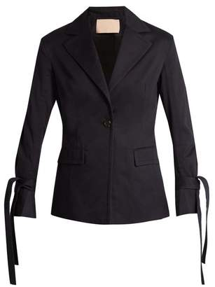 Brock Collection Jadine Single Breasted Cotton Drill Blazer - Womens - Navy