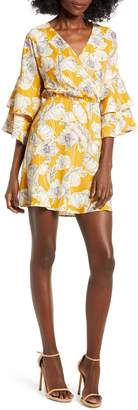ALL IN FAVOR Printed Ruffle Sleeve Minidress