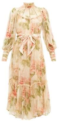 Zimmermann Espionage Floral Print Silk Georgette Dress - Womens - Beige Print