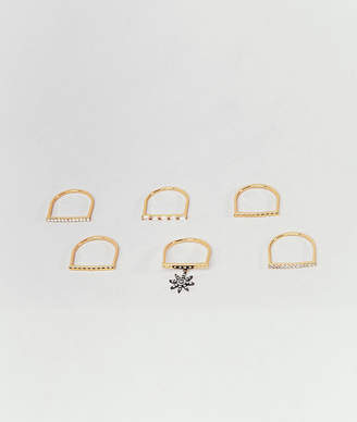 Accessorize limited edition multi pack gold rings