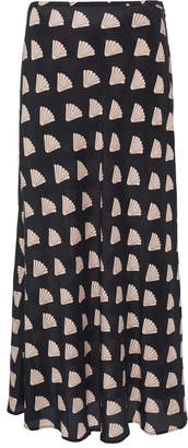 Rixo Kelly Shell Silk-Blend Midi Skirt