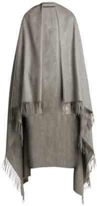 Max Mara Fringed Cashmere Blanket Scarf - Womens - Light Grey