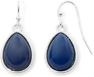 Liz Claiborne Blue Bead Silver-Tone Drop Earrings