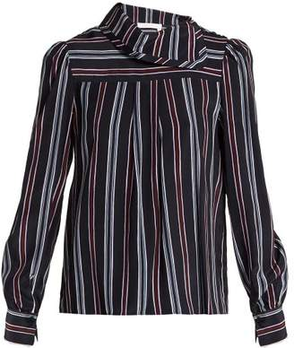 See By Chloé - Striped High Neck Silk Blouse - Womens - Navy