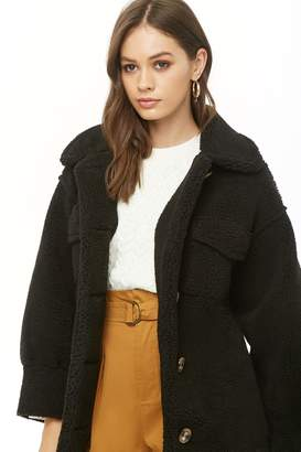 Forever 21 Faux Shearling Button-Front Coat