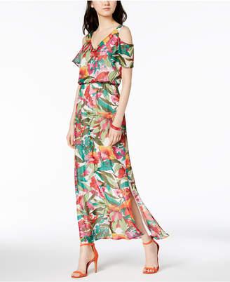 Nine West Floral Printed Cold-Shoulder Maxi Dress
