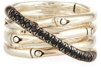 John Hardy Bamboo Silver Band Ring w/ Black Pavé