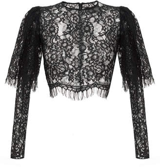 43106a10624 Rasario Puff-Sleeve Lace Cropped Top