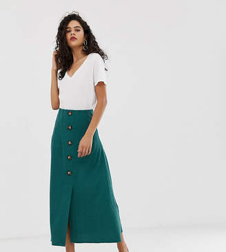Asos Tall DESIGN Tall textured midi skirt with button front