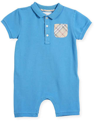 Burberry Peter Pique Polo Playsuit w/ Check Pocket, Size 3-24 Months