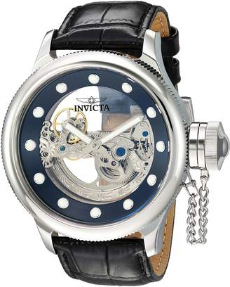 Invicta Men's 'Russian Diver' Automatic Stainless Steel and Leather Casual Watch, Color:Black (Model: 24593)