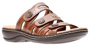 Clarks Leather Lightweight Triple Strap Slides- Leisa Lakia