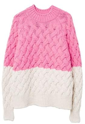MANGO Bicolor cable-knit sweater