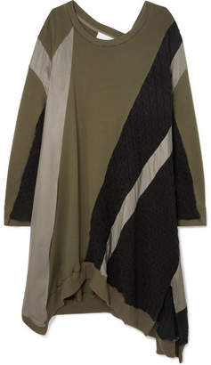 Koché - Asymmetric Cotton-jersey, Cable-knit And Crepe Dress - Army green