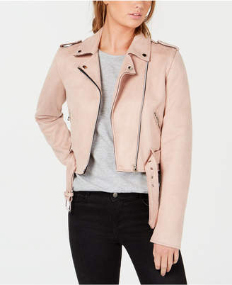 Coffeeshop Juniors' Faux-Suede Asymmetrical Moto Jacket