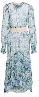 Zimmermann Women's Moncur Ruffled Silk Long Sleeve Midi Dress - Aquamarine - Size 0 (2-4)