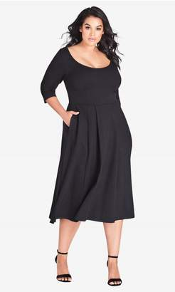 City Chic Citychic Classic Sleeve Longline Fit & Flare Dress - Black