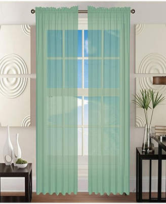"Elegant Comfort 2 Piece Solid Sheer Panel with Rod Pocket - Window Curtain 40"" Width x 84"" Length Bedding"