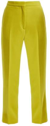 Rochas Straight Leg Wool Crepe Trousers - Womens - Light Green