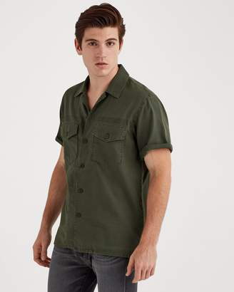 7 For All Mankind Short Sleve Military Shirt in Rifle Green