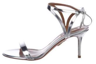 Aquazzura Metallic Leather Strap Sandals