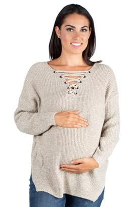 24/7 Comfort Apparel Criss Cross Mock Lace-Up V-neck Maternity Sweater Top