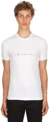 Giorgio Armani Flocked Signature Stretch Jersey T-Shirt