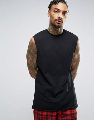 Asos Design DESIGN longline sleeveless t-shirt with dropped armhole in black