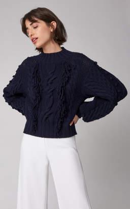 Carolina Herrera Fringed Cable-Knit Wool Sweater Size: XL