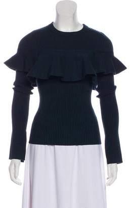 Apiece Apart Rib Knit Ruffled Sweater