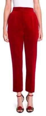 Dolce & Gabbana High-Rise Velvet Ankle Pants