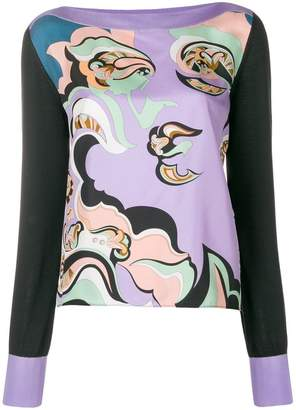 Emilio Pucci knit sleeve printed panel top
