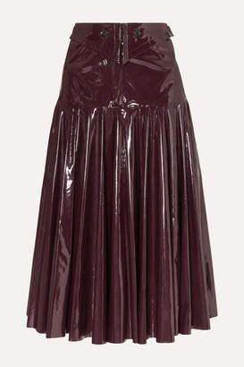 Palmer Harding palmer//harding - Fused Fluted Vinyl Midi Skirt - Burgundy