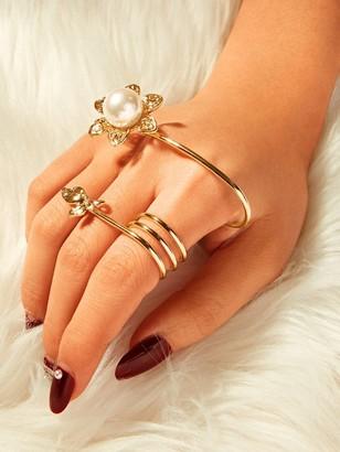 Shein Faux Pearl & Leaf Decor Spiral Ring 1pc