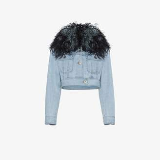 Prada Denim jacket with ostrich feather trim
