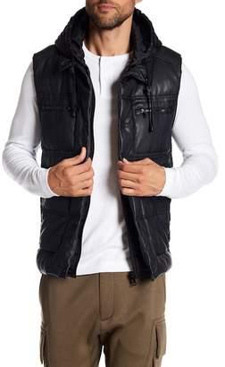 Sean John Hooded Quilt Heavy PU Vest