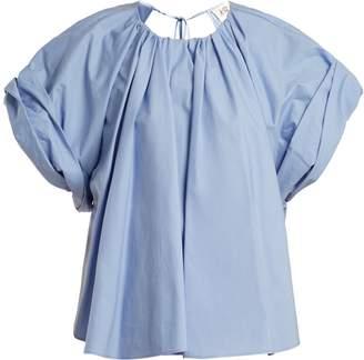 Awake Round-neck gathered-detailed cotton top