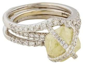 Ring Diamond in the Rough Wedding Set white Diamond in the Rough Wedding Set