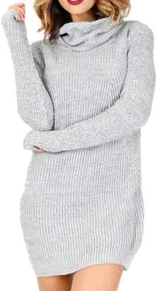 Zuvebamyo Women High Neck Long Sleeve Elegant Long Tunic Sweater Dress M