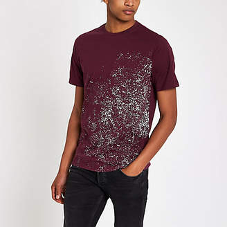 River Island Mens Burgundy slim fit paint splat T-shirt