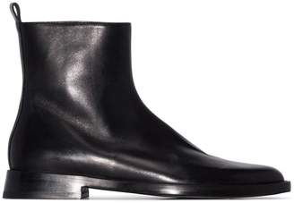 Ann Demeulemeester black flat leather ankle boots