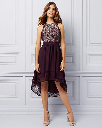 Le Château Lace & Chiffon High-Low Dress